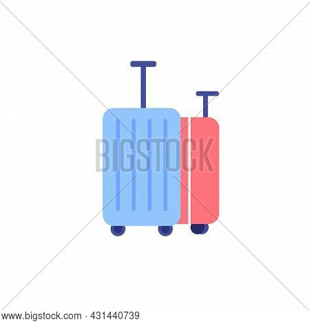 Vector Cartoon Flat Wheeled Suitcases Isolated On Empty Background-tourism, Vacation And Travel Conc