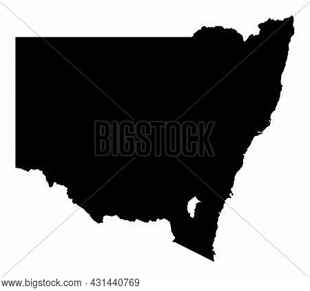 The New South Wales Dark Silhouette Map Isolated On White Background, Australia