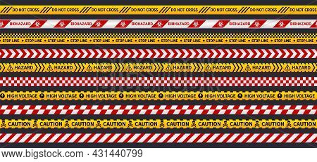 Attention Ribbons. Secure Tape Seamless Pattern, Construction, Bio Hazard Or Danger. Police Investig