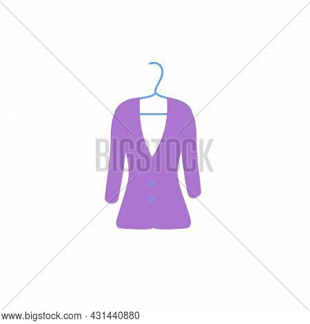 Vector Cartoon Flat Fashionable Dress On Clothes Hanger.new Trendy Beautiful Apparel Isolated On Emp