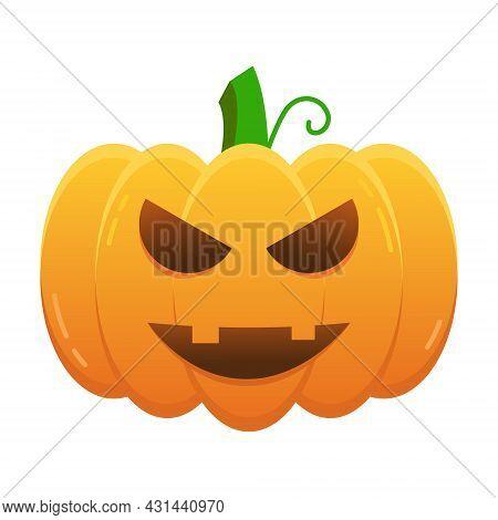 Cute Pumpkin Halloween Isolated Vector Illustration. Scary Jack Lantern Realistic Illustration. Spoo