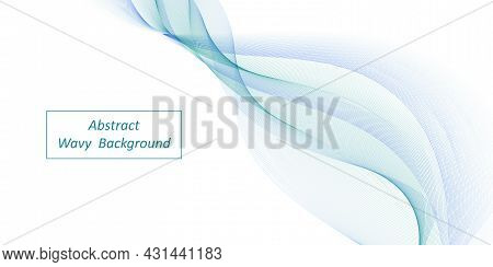 Abstract Wave, Blue And Teal Air Wind Swirl Wave. Decorative Swoosh,  Color Flow On White Background