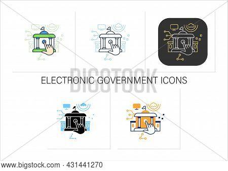 Electronic Government Icons Set. Digitalization. Solving Public Affairs Online.digital Transformatio