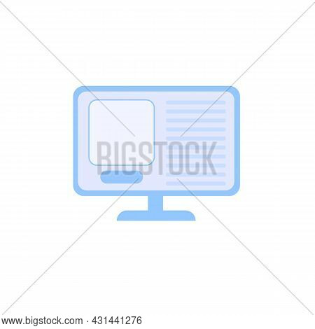 Vector Flat Schematic Computer Monitor Isolated On Empty Background-electronic Equipment, Home Appli