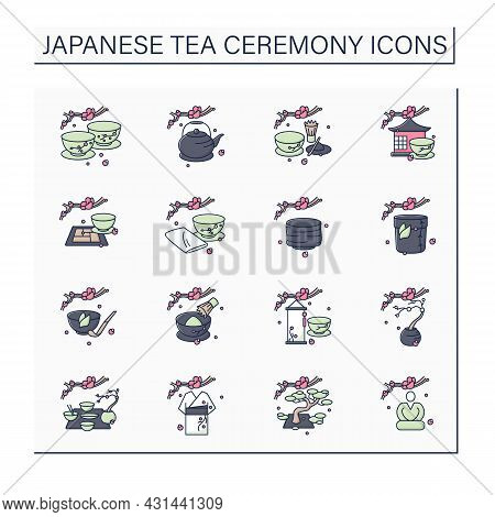 Japanese Tea Ceremony Color Icons Set. Japanese Ethnic And National Ritual. Japan Ancient Tradition.