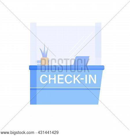 Vector Cartoon Flat Airport Check In Counter Isolated On Empty Background-tourism And Vacation, Plan