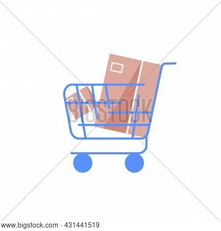 Vector Cartoon Flat Shopping Trolley With Goods.shop Customers Practical Device For Transporting Mer