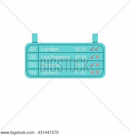 Vector Cartoon Flat Airport Arrivals And Departures Display Isolated On Empty Background-tourism And