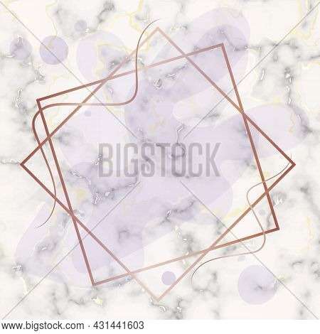 Marble Frame. White Marble Background With Gilding. Beautiful Frame With Spots And Stains. Place For
