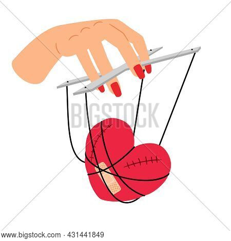 Love Manipulation. Heart On Manipulative Strings In Woman Hand, Girl Power, Relationship Puppet Conc