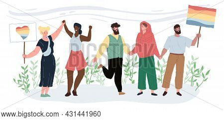 Vector Cartoon Flat Positive Characters Of Different Races On Lgbt Parade Holding Rainbow Symbols-pe