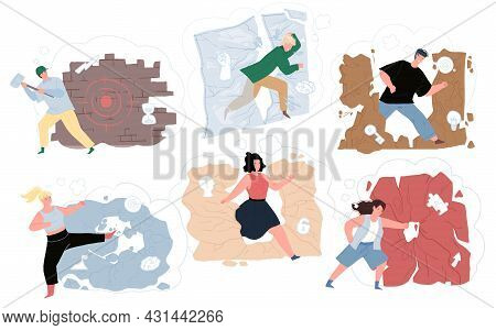 Set Of Vector Flat Cartoon Characters Destroying Walls, Breaking Obstacles On Way To Success Achievi