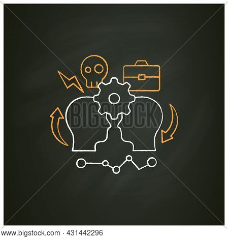 Conflict Management Chalk Icon.conflict Between Two Persons.successfully Handles, Resolves Issues Se