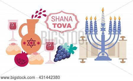 Happy Rosh Hashanah , (jewish New Year),  Shana Tova In Hebrew  Holiday Banner Design.  Menorah, App