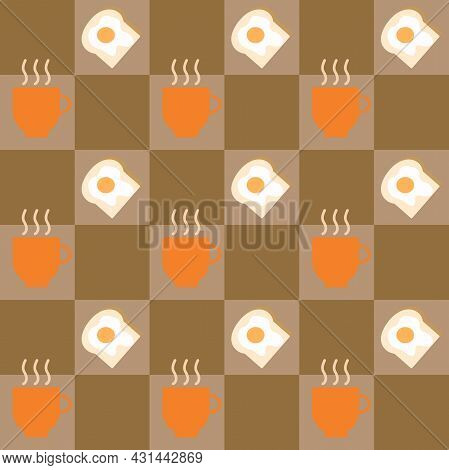 Seamless Pattern. Cute Cartoon Breakfast Toast, Fried Eggs And Hot Coffee Mugs. On A Checkered Brown