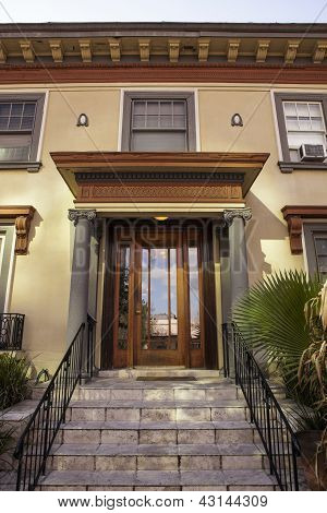 Entrance To A Craftsman Apartment Building