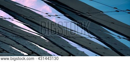 Reflection On Office Centre Building. Abstract Background. Reflective Surface. Modern Urban Architec