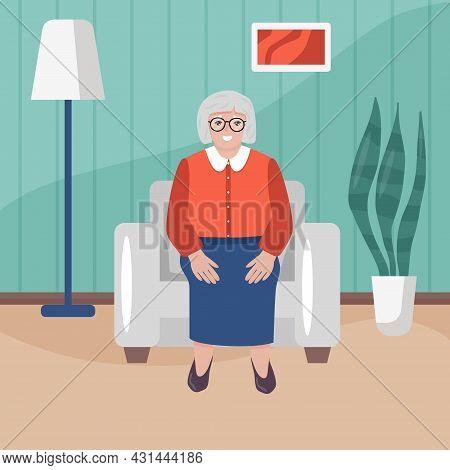 Happy Grandma Sitting In Armchair In Her House. Seniora Woman In Cartoon Style In Living Room. Flat