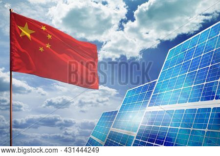 China Solar Energy, Alternative Energy Industrial Concept With Flag - Fight With Global Warming - In