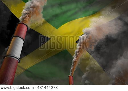 Jamaica Pollution Fight Concept - Two Large Industrial Pipes With Heavy Smoke On Flag Background, In