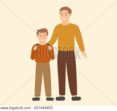 The Father Escorts His Son To School. Schoolboy With A Backpack. Illustration For Your Creativity