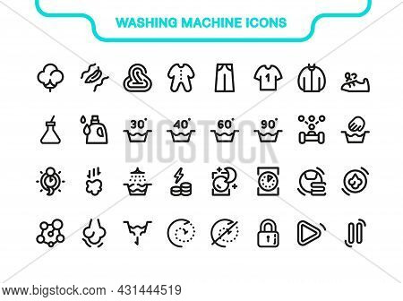 Vector Icon Line And Fill Set. Washing Machine Elements Collection: Mode, Drying, Manual, Spinning,