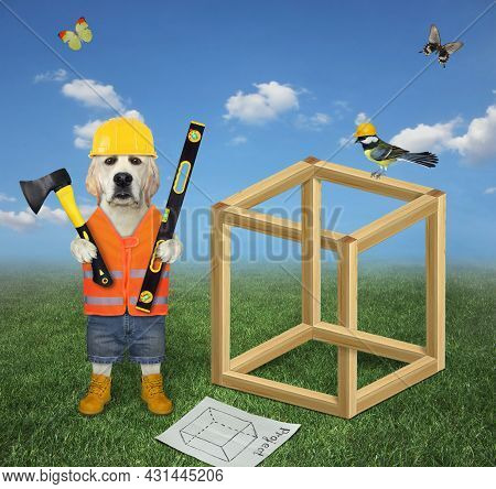 A Dog Labrador Carpenter In A Construction Helmet With An Axe And A Level  Is Building An Impossible