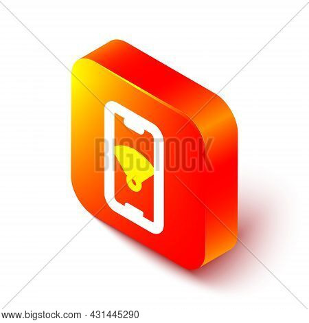 Isometric Line Smartphone With Free Wi-fi Wireless Connection Icon Isolated On White Background. Wir