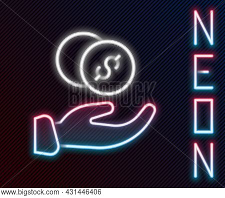 Glowing Neon Line Donation Hand With Money Icon Isolated On Black Background. Hand Give Money As Don