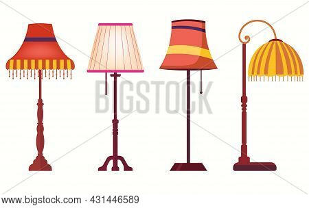 Lampshades On Long Stands. Set Of Lamps. Table Torcheres. Vector Decor