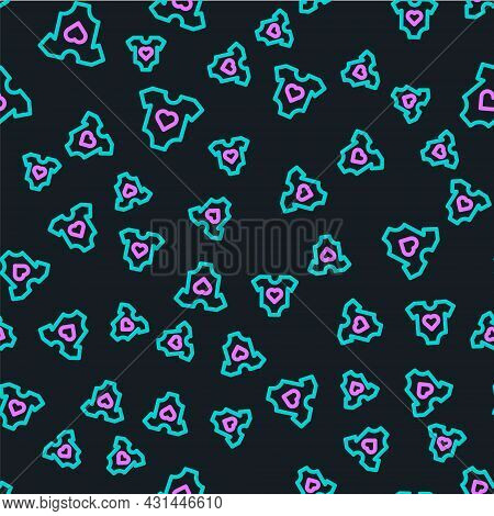 Line Baby Clothes Icon Isolated Seamless Pattern On Black Background. Baby Clothing For Baby Girl An