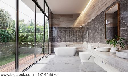 Modern Luxury Bathroom With Tropical Style Garden View 3d Render,there Are Marble Floor And Wall And