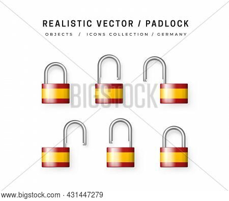 Secure Padlock Decorated With Spanish Flag. Icons Set Of Closed And Open Locks. Isolation On White.