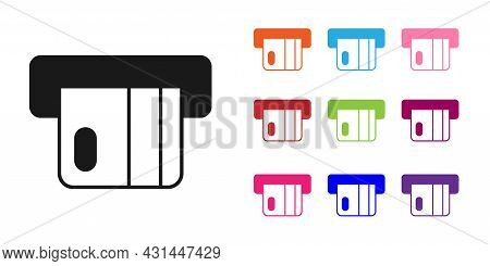 Black Credit Card Inserted In Card Reader Icon Isolated On White Background. Atm Cash Machine. Set I
