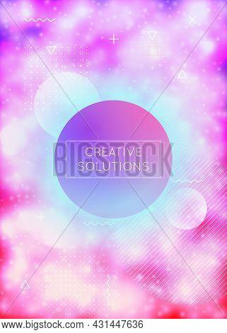 Purple Cover With Liquid Neon Shapes. Luminous Fluid. Fluorescen