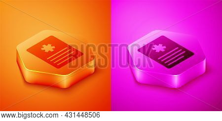Isometric Medical Clipboard With Clinical Record Icon Isolated On Orange And Pink Background. Prescr