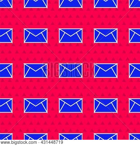 Blue Mail And E-mail Icon Isolated Seamless Pattern On Red Background. Envelope Symbol E-mail. Email