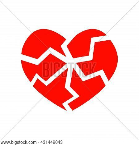 Red Cracked Heart Icon Isolated On White Background. Symbol Of Heartbreak, Divorce, Parting, Heart A