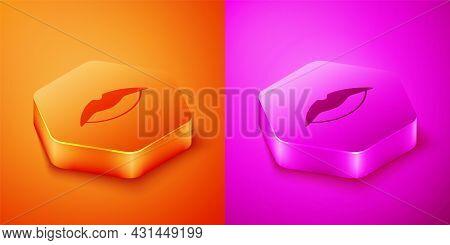 Isometric Smiling Lips Icon Isolated On Orange And Pink Background. Smile Symbol. Hexagon Button. Ve
