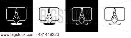 Set Eiffel Tower Icon Isolated On Black And White Background. France Paris Landmark Symbol. Vector