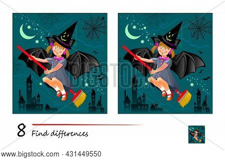 Find 8 Differences. Illustration Of Little Girl Dreaming About Halloween Night. Logic Puzzle Game Fo