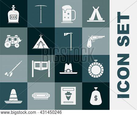 Set Money Bag, Canteen Water Bottle, Revolver Gun, Wooden Beer Mug, Indian Teepee Or Wigwam, Western