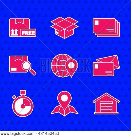 Set Location On The Globe, Placeholder Map Paper, Warehouse, Envelope, Fast Time Delivery, Search Pa