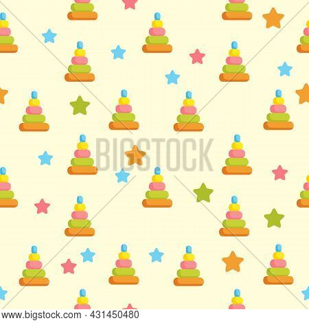 Seamless Background With Children S Toys. Colored Pyramids In The Form Of A Cone And Multicolored St
