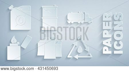 Set Oil Industrial Factory Building, Tanker Truck, Lighter, Drop With Recycle, Barrel Oil Leak And C