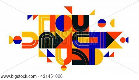 Abstract Geometric Composition Vector Design, Colorful Abstraction Isolated On White, Modern Style S