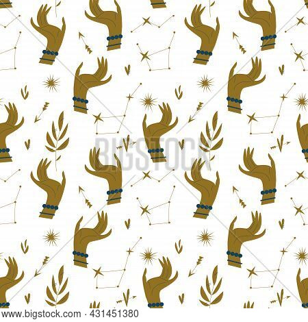 Pattern With Golden Hands, Stars And Plants In A Minimalist Style. Seamless Mystical Pattern On The