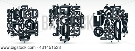Abstract Geometric Composition Vector Designs Set, Black And White Abstraction Isolated On White, Mo
