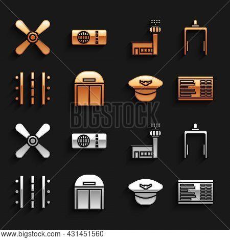 Set Aircraft Hangar, Metal Detector In Airport, Airport Board, Pilot Hat, Runway, Control Tower, Pla