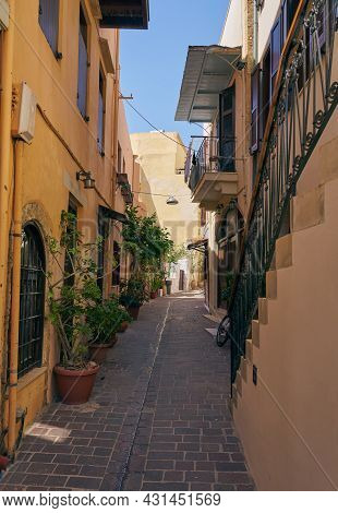 Narrow Streets In The Old Town Of Chania In Crete
